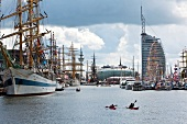 View of Bremerhaven harbour and sailboats, Bremen, Germany