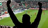 Man cheering in stadium during soccer match between Werder Bremen and FC Koln, Germany