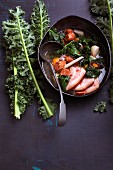 Green kale stew with chorizo and chilli honey