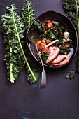 Green kale stew with chorizo and chilli honey
