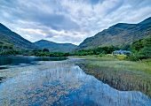 Connemara mountain scenery with waters and Delphi Lodge, Ireland