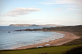 View of White Park Bay beach and Antrim Coast, Ireland, UK