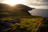 View of Antrim Coast Torr Head mountain with green coast, Ireland, UK