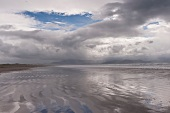 View of mountains, fog and clouds at Ring of Kerry Inch Beach, Ireland, UK