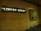 Signboard of Louvre-Rivoli metro station in Paris, France