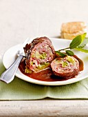 Beef roulade filled with bacon and cucumber
