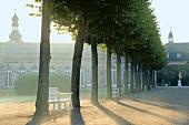 Schwetzingen: Schlossgarten, Zirkelbau, Allee, Sitzbänke weiss
