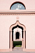 View of mosque facade of Schwetzingen palace garden, Germany