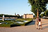 View of Schwetzingen Castle and geometric shaped gardens, Baden-Wurttemberg, Germany