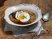 Bread soup with poached egg