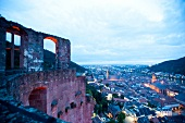 View of Old Town from Heidelberg Castle at dusk, Germany