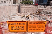 Sign boards at Ground Zero construction site in New York, USA