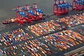Elevated view of cranes and cargo containers at port in Bremerhaven, Bremen, Germany
