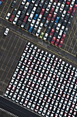 Aerial view of carks parked at Port, Bremerhaven, Germany