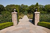 Entrance of rose garden in New York Botanical Garden, New York, USA