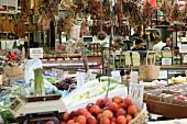 Shops at Italian market in The Bronx, New York, USA