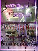 Window display at jewellery shop in Bronx, New York, USA