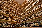 Shelf with wine bottles in Meinl`s Wine Bar, Vienna, Austria