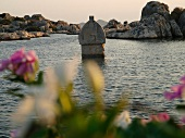 Antique sarcophagus sunk into sea in Kekova, Lycia, Antalya, Turkey