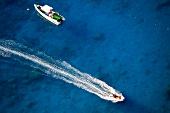 Boats in blue sea, Lycia, Antalya, Turkey, overhead view