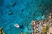 Boat in blue sea, Lycia, Antalya, Turkey, overhead view