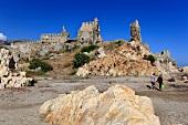 Tourist at ruined Mamure Castle in Anamur, Antalya, Turkey