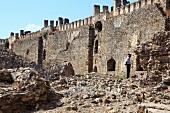 View of ruined Mamure Castle in Anamur, Antalya, Turkey