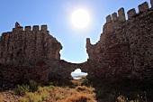 Bright sun over ruined Mamure Castle in Anamur, Antalya, Turkey