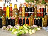 Fresh fruits, vegetables and bottles in market