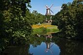 View of windmill in Wallanlagen park, Bremen, Germany