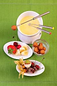 White chocolate fondue with coconut