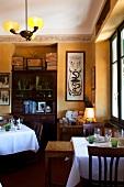 Interior of il Gatto Nero restaurant in Cernobbio, Como, Lombardy, Italy