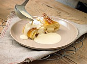 Apple strudel with vanilla sauce