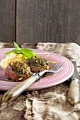 Venison medallions with mashed apples and chestnuts
