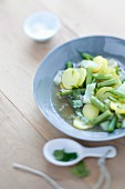 Vegetable soup with potatoes, green beans and fennel