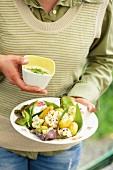 Potato salad with cauliflower and a wild garlic dressing
