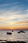 View of boats in Baltic Sea coast at sunset, Habernis