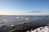 View of winter landscape with ice at Baltic Sea coast
