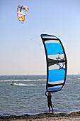 Kitesurfer at Baltic Sea Coast in Fehman, Ostholstein, Germany