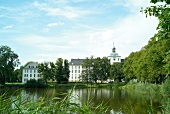 View of Gottorf Castle surrounded with greenery at Schleswig, Schleswig-Holstein, Germany