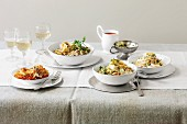 Four different vegetarian pasta dishes