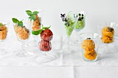 Orange granita, tomato sorbet, cucumber sorbet and mango sorbet