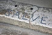 Close-up of Salve font on doorstep in Solin, Dalmatia, Croatia
