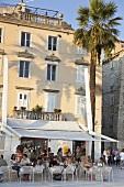 Guests sitting at Split Riva Promenade Cafe, Croatia