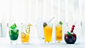 Various non-alcoholic summery long drinks