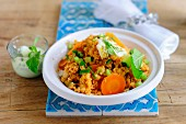 Vegetable couscous with mint yoghurt
