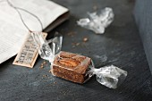 Whiskey fudge wrapped in cellophane as a gift