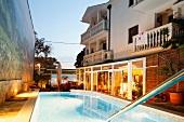 View of swimming pool in Hotel Marco Polo at Makarska Riviera, Croatia