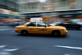 Taxi on road of New York, Blurred motion