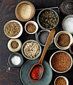 Various seeds and spices for baking bread